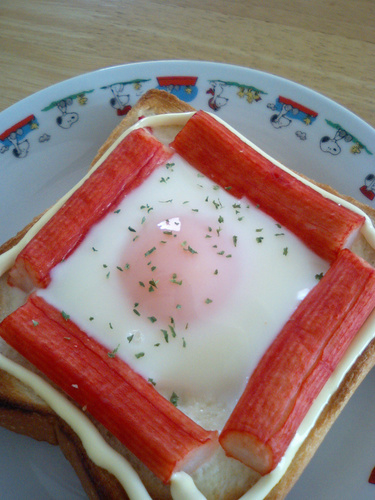 Sunny Side Up Toast Crab Stick Version
