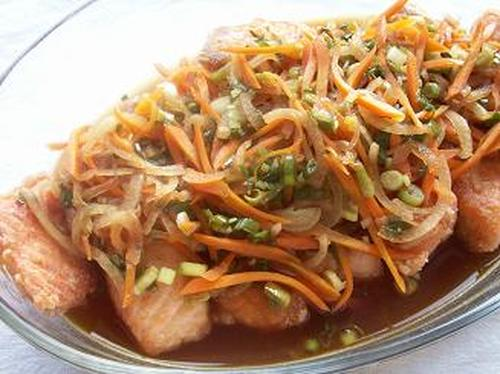 Chinese-style Roasted Fresh Salmon in Nanban Sauce