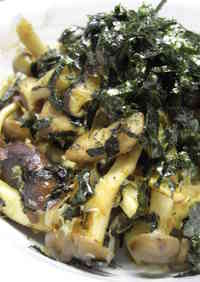 Stir-fried Mushrooms with Nori Seaweed and Bonito Flakes