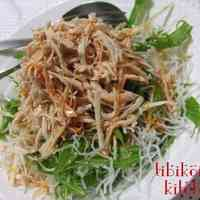 Crispy Crunchy Mizuna and Fried Glass Noodle Salad