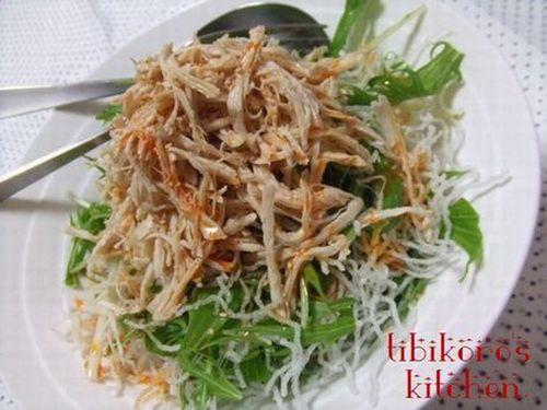 Crispy Crunchy Mizuna and Fried Glass Noodle Salad