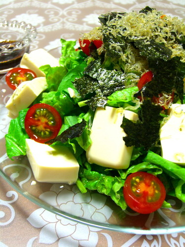 Tofu and Crispy Jako Fish Salad