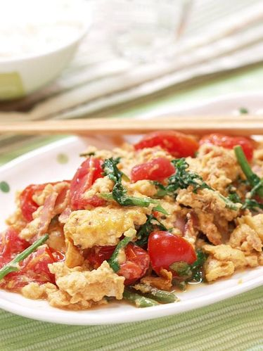 Scrambled Eggs with Colourful Vegetables and Ponzu Sauce