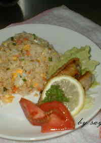 Salmon Fried Rice Using Frozen Rice