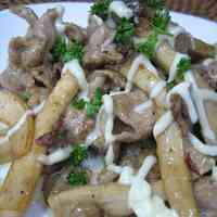 Stir-Fried Pork and King Oyster Mushroom With Mayonaise and Soy Sauce
