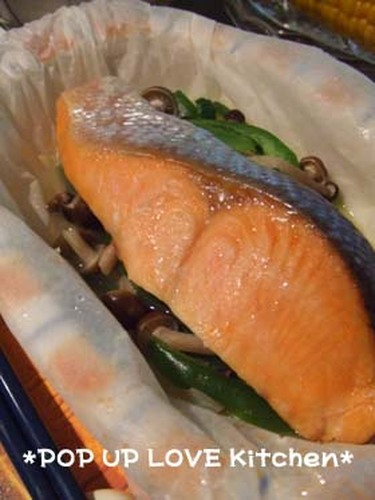 Salted Salmon and Vegetables Sake-steamed in the Microwave