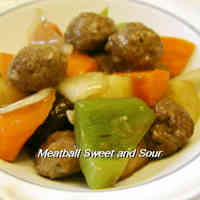 Sweet and Sour Pork Style Meatballs with Thick Sweet-Vinegar Sauce