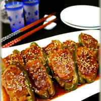 Stuffed Bell Peppers with Thick Sweet and Sour Sauce
