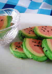Watermelon Icebox Cookies