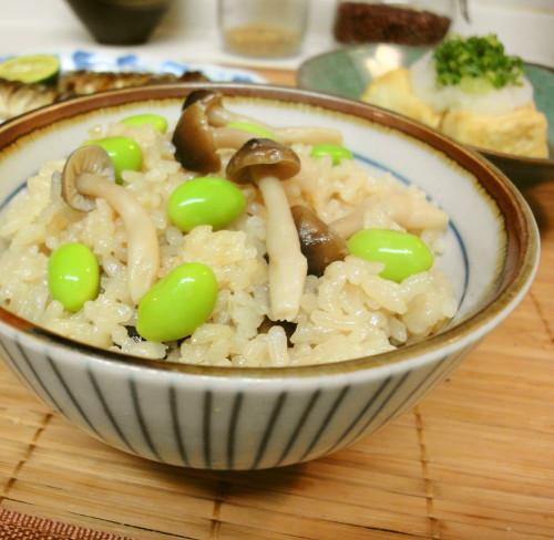 Shimeji Mushroom and Edamame Seasoned Rice