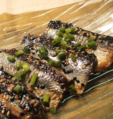 Pacific Saury Roasted with Sesame Seeds
