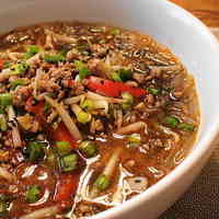 Healthy Dandan Noodles with Cellophane Noodles and Black Sesame