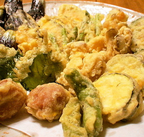 Tempura with Summer Vegetables and Meat-Stuffed Bitter Melon