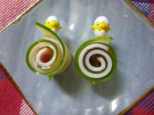 For Bentos: Cucumber and Ham Rollups