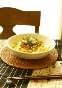 Natto and Umeboshi Spaghetti