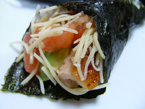 Unique Hand Rolls Avocado and Chicken with Salsa