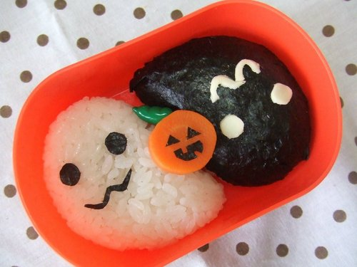 Halloween Black and White Character Bento Ghosts
