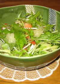 Mizuna Salad with Kabosu Citrus Balsamic Dressing