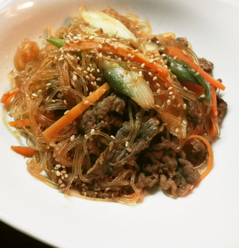 Japchae (Korean Cellophane Noodle Stir-fry)