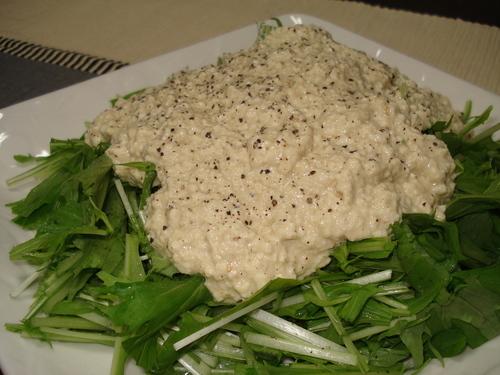 Mizuna Salad with Tofu Dipping Sauce