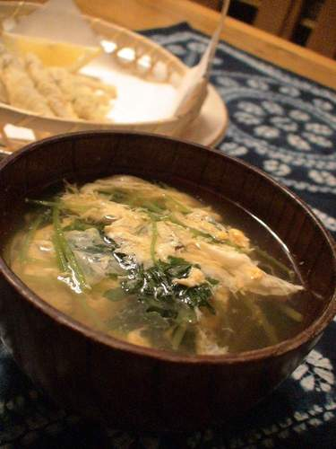Easy Egg Drop Soup with Mitsuba