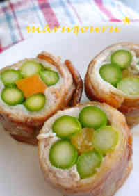 Asparagus and Pork Flower Rollups