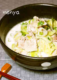 Pork and Cabbage Udon in a Creamy Miso and Milk Broth