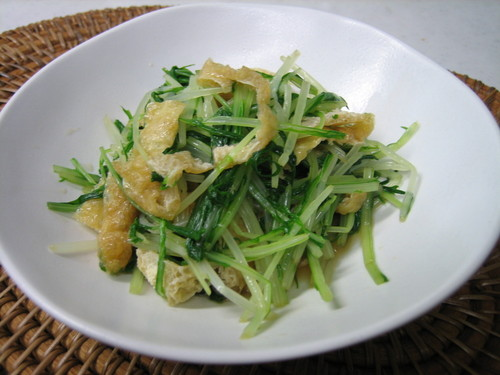 Boiled Mizuna Greens and Fried Tofu
