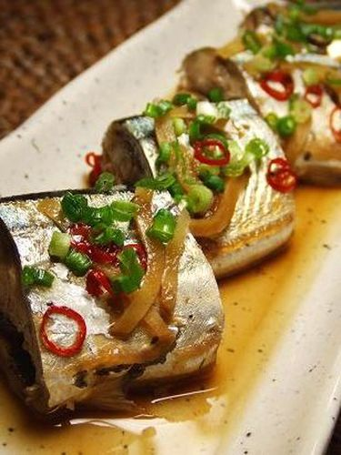 Pacific Saury Simmered in Refreshing Ponzu Sauce♪