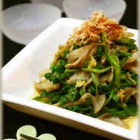 Simple Parboiled Japanese Parsley and Maitake Mushrooms