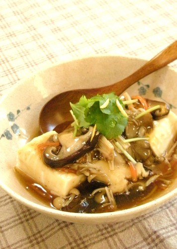 Tofu In Silky An Mushroom Sauce ☆Yuzu Pepper Flavor
