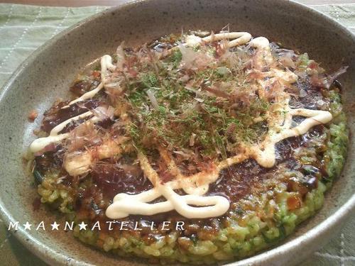 Simple Springy Okonomiyaki Made with Leftover Rice