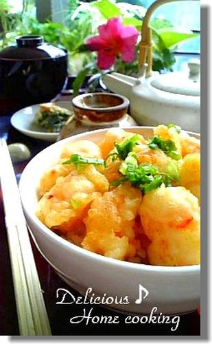 Plump Shrimp Kakiage Tempura Fritters Rice Bowl