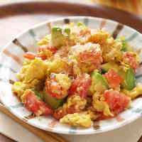 White Miso Scrambled Eggs with Tomato and Avocado
