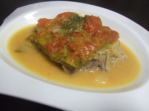 Stewed Cabbage and Pork Mille-Feuille