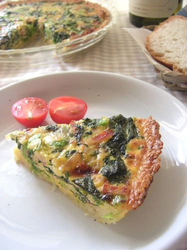 Healthy Quiche with a Crispy Rice Crust..