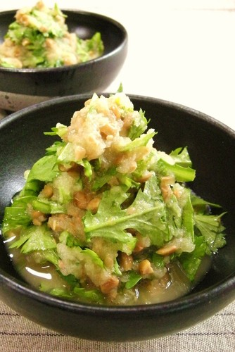 Raw Chrysanthemum Greens with Mustard Daikon Radish Natto