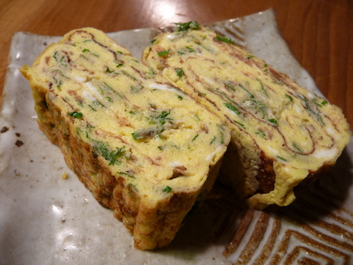 Refreshing Japanese Omelet With Umeboshi Plums and Shiso