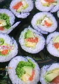 Salmon and Avocado Fat Sushi Rolls (Futomaki)