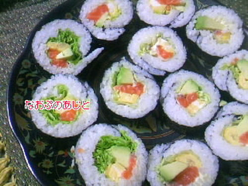 Salmon and Avocado Fat Sushi Rolls (Futomaki)