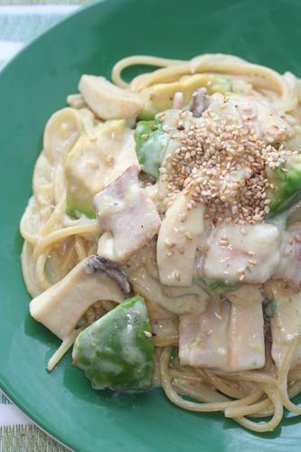 Avocado and Mushroom Cream Pasta