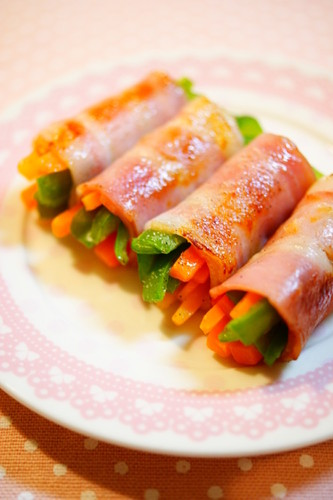 Bacon-Wrapped Carrot and Bell Pepper