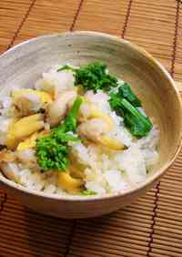 Mixed Rice with Manila Clams and Nanohana