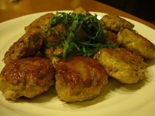 Pork Tsukune (Patties) Packed with Burdok Root