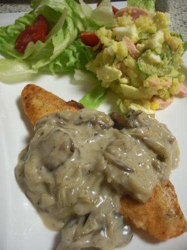 Pan Fried Salmon with Creamy Maitake Mushroom Sauce