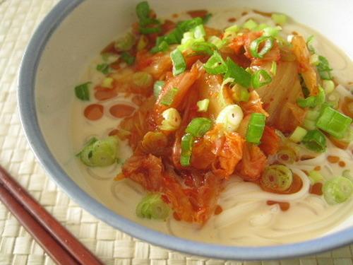 Chilled Soy Milk Kimchi Udon