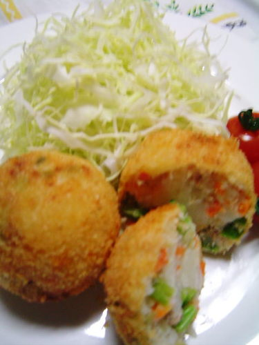 Broccolini, Tuna and Cheese Spring Colored Croquettes