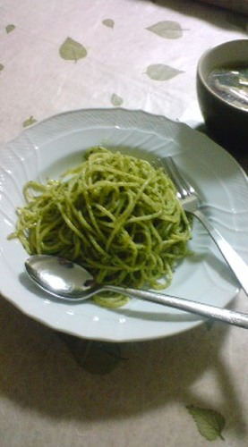 Shiso Leaves and Sesame Seeds Pasta (Genovese Style)