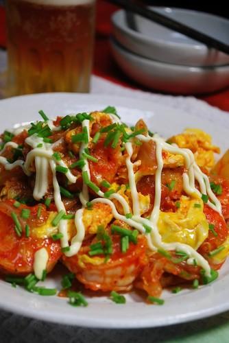 Crispy Fried Shrimp with Egg Kimchi