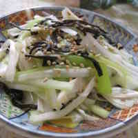 Healthy Japanese Leek and Salted Kombu Seaweed Salad